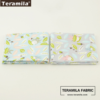 2 Pcs/lot Cartoon Animals Pattens Teramila Fabric Home Textile Bedding 50cmx100cm Quilting Tela Cotton Twill