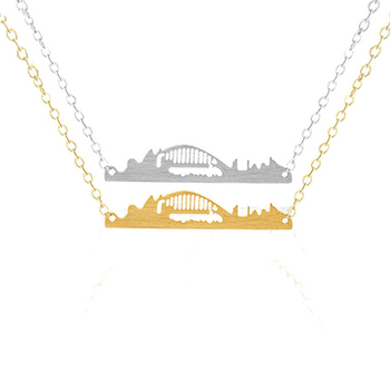 Wholesale Sydney Harbour Bridge Necklace For Women Collares Stainless Steel Chain Skyline Necklace Pendant Birthday Jewelry