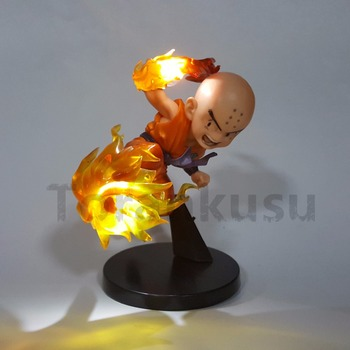 Dragon Ball Z Krillin PVC Action Figure Yangın Fist Led Işık Model Oyuncak Anime Dragon Ball Süper DBZ Goku Süper Saiyan Krillin