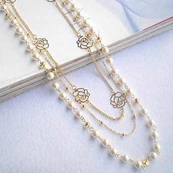 Fashion 2017 Long Sweater Chain Ornaments Imitation Pearl Rose Flower Girl Dress Multilayer Long Necklace