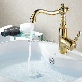 Basin Faucets Mixer Taps Golden Plated Hot and Cold Deck Mounted Latin Style Sink Faucet G1008