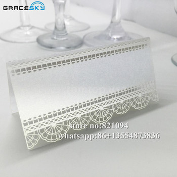 50Pcs laser cut Paper Lace design hollow out Wedding Invitation Seat Name table Cards for party home Decoration