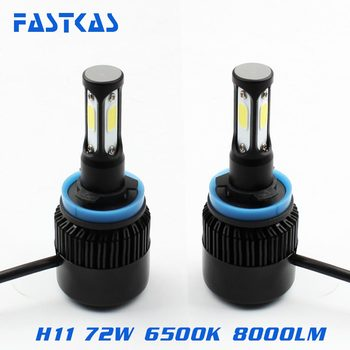 H11 LED Far 12 v 24 v COB 72 w LED Araba Far Ampul 6500 K Sis Farları DRL Oto far Toyota/VW/Hyundai/Kia/Chevrolet