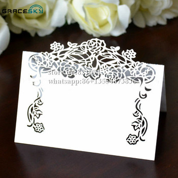 50pcs  laser cutting pearlescent Lace Name Place Wedding invitation Cards for Party Table Decoration