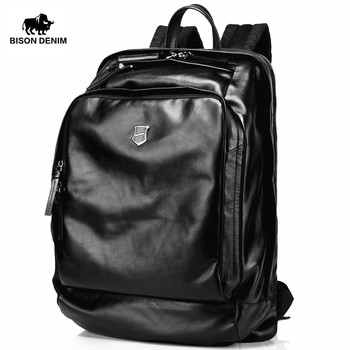 Bison Denim Soft Genuine Leather 15.6 inches Large Men Backpack Travel Laptop Backpack School Backpack Male Fashion N2378