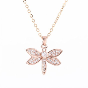 New Simple Animal Series Dragonfly Three-Color Pendant Micro Pave CZ Chain Charm Lady's Favorite Necklace Jewelry